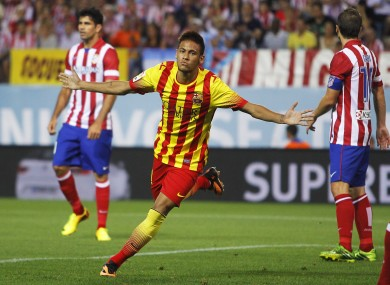 Up and running: Neymar opens his competitive account for Barca.