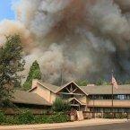 The Rim Fire burns near Groveland Ranger Station in Groveland, Calif. The wildfire outside Yosemite National Park. (AP PHOTO)