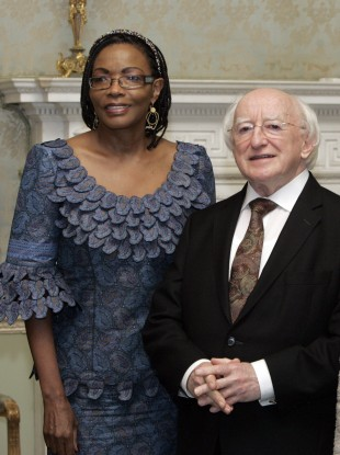 Catherine Muigai Mwangi with President Michael D. Higgins at a function in the Áras last year.