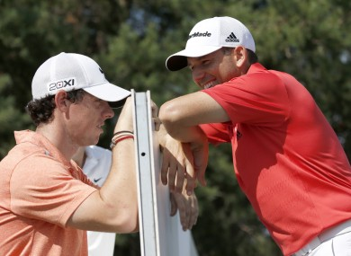 Rory McIlroy shares a joke with Sergio Garcia at last week's BMW Championship.