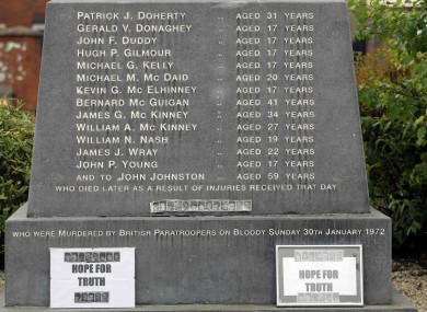 This image shows the names of the victims shot dead on Bloody Sunday in 1972.