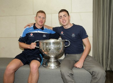 Dublin's Ciaran Kilkenny and Cormac Costello celebrate with the Sam Maguire yesterday.