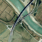 Aerial view of the bridge where the pile-up happened this morning.<span class=