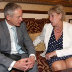 Minister for Jobs, Innovation and Enterprise Richard Bruton and TD for Cavan Monaghan Heather Humphreys thinking.<span class=