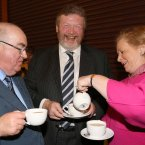 'I'll be mum': Senator Paul Coghlan, Minister for Health James Reilly and Minister for Children, Frances Fitzgerald<span class=