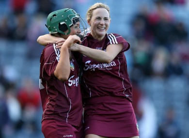 Therese Maher celebrates with Heather Cooney after winning her first All-Ireland title.