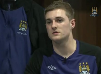 Lawlor being interviewed at Man City.