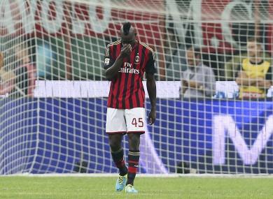 AC Milan forward Mario Balotelli after missing a penalty kick against Napoli at the San Siro.