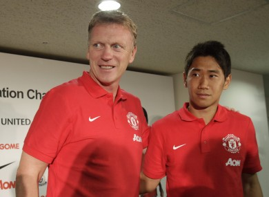 Out of favour: David Moyes, left, and Shinji Kagawa. File picture.