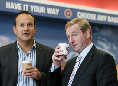 Enda Kenny canvassing with Transport Minister Leo Varadkar in Blanchardstown today.