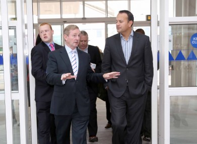 Enda Kenny canvassing with Transport Minister Leo Varadkar in Blanchardstown yesterday.