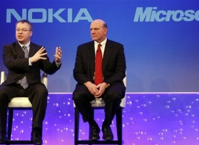 Stephen Elop CEO of Nokia, left, with CEO of Microsoft Steve Ballmer in 2011.
