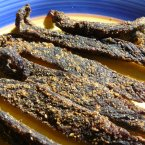Biltong is a type of cured meat from South Africa. It can be made with beef or game meats like ostrich.