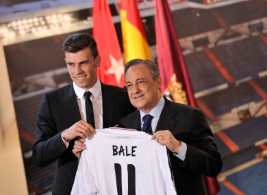 Bale and Perez at the player's unveiling.