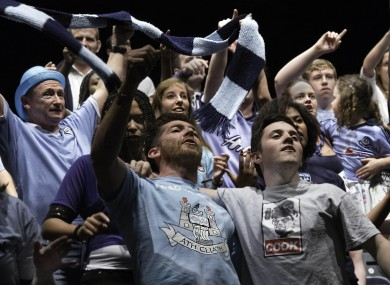 Dublin fans cheer on the Boys in Blue during the show.