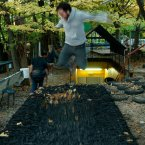 Guests can jump to their heart's content on this handmade trampoline.<span class=