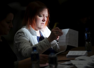 Votes are counted during the Children's Rights Referendum at citywest last year