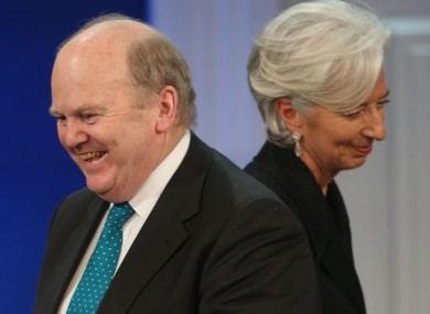 Finance Minister Michael Noonan and IMF Managing Director Christine Lagarde who it is believed had dinner in Washington last night.