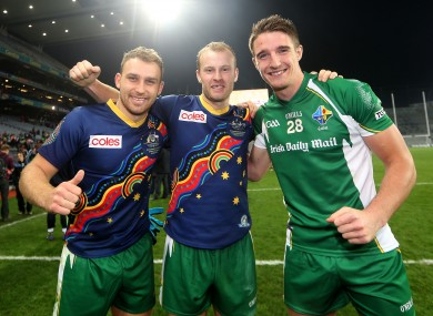Ciaran Sheehan with Michael Shields and Aidan Walsh after their International Rules victory on Saturday.