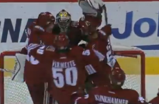 NHL goalie just about beats the buzzer to score rare goal