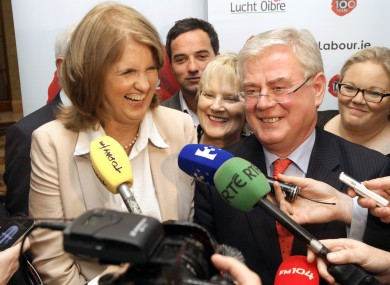 Joan Burton and Eamon Gilmore at the Labour Party Think-In last month.