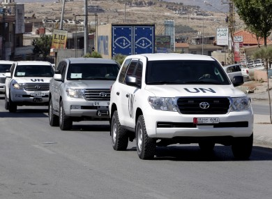 A convoy of inspectors prepares to cross into Syria at the Lebanese border last Tuesday