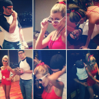 Remember the Sandlot Kids? The Vikings quarterback and Mrs Ponder went all out as Squints and Wendy Peffercorn.