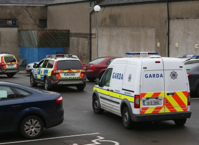 A garda van outside Longford Courthouse yesterday