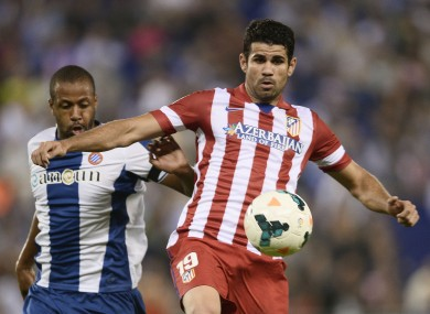 Costa is closed down by Espanyol's Sidnei  last weekend.