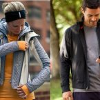 For her, Lululemon's Bundle Up jacket has soft fleece, water-resistant panels, and a removable hood, making it ideal for winter runs.  For him, try the lightweight Training Jacket with a special opening for headphones in the front pocket.<span class=