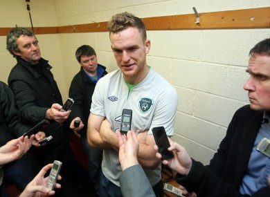 Alex Pearce talks to the press at Gannon Park this afternoon.