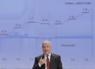 European Commissioner for Economic and Monetary Affairs Olli Rehn addresses the media at the European Commission headquarters in Brussels