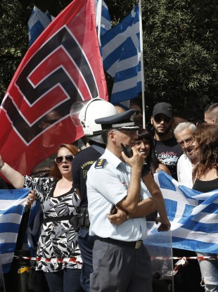 Protests by Golden Dawn supporters in Athens (File photo)