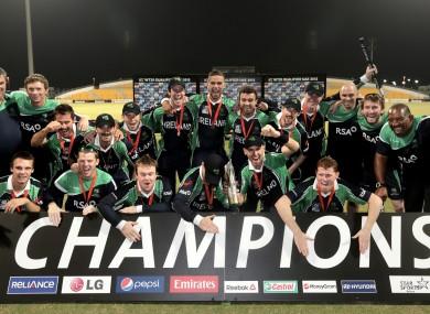 Ireland celebrate their second successive win at the World Twenty20 Qualifier tournament.