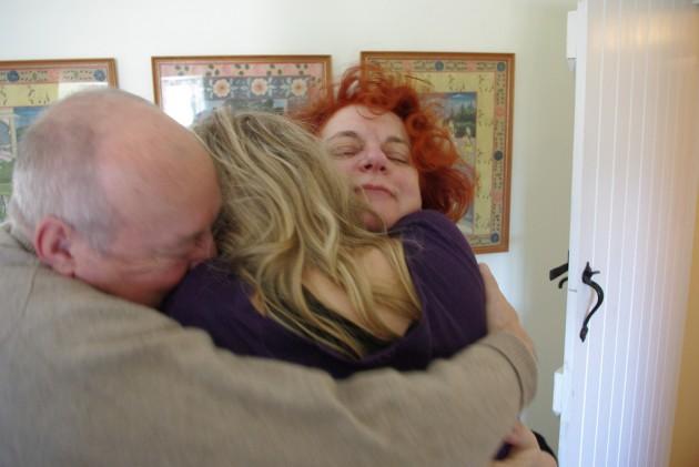 Group family hug