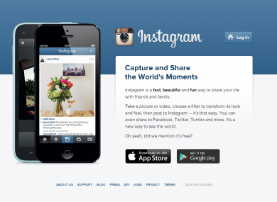 The Instagram homepage