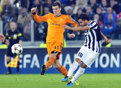 Gareth Bale and Carlos Tevez during the meeting of Real Madrid and Juventus in midweek.