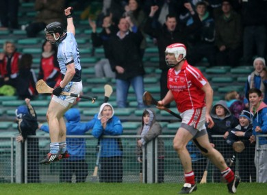 Na Piarsaigh's Kevin Downes celebrates a late score.
