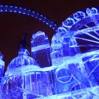 The EDF Energy London Eye has created a huge version of the iconic London skyline made only from ice to celebrate the launch of the Frostival festive season.