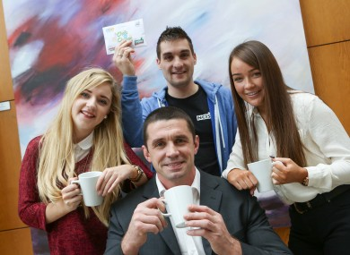 Pictured at the launch of the Union of Students in Ireland (USI) More Talk, More Action€ campaign was former rugby star and mental health advocate Alan Quinlan with NCI students Sarah McCabe, Greg O'Donoghue and Laura Groves.