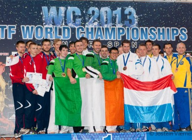 The Irish team celebrate their recent success at the World Championships.