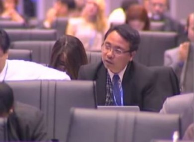 Naderev Sano speaks at the UN Climate Change Conference