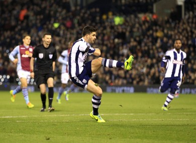 Shane Long opens the scoring for WBA at the Hawthorns.