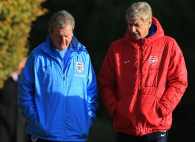 England Manager Roy Hodgson talks with Wenger at Colney this week.