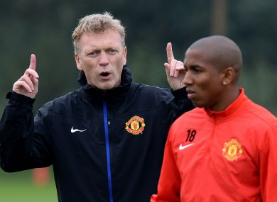 David Moyes on the training ground with Ashley Young.