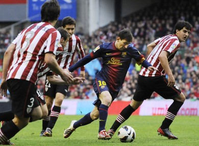 Messi causing Athletic Bilbao problems last season.