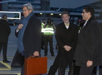 U.S. Secretary of State John Kerry arrives at Geneva International Airport this morning