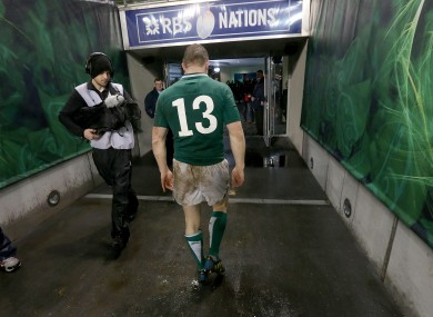 Brian O'Driscoll will soon head down the tunnel in a green jersey for the last time.