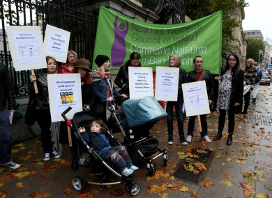 A protest against budget cuts to maternity benefit at the Dail after the October Budget announcement.
