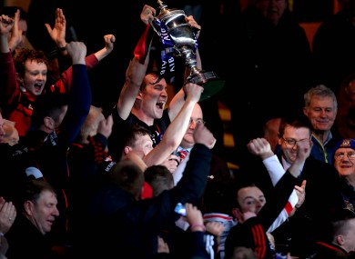 Mount Leinster captain David Phelan lifts the AIB Leinster Senior Hurling title.